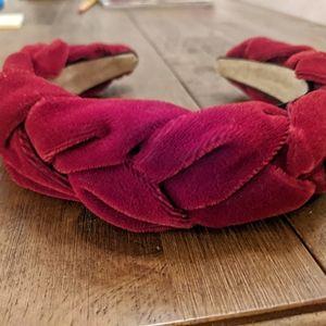 Braided red velvet headband